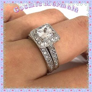Jewelry - 14K🆕⭐️3CT PRINCESS DIAMOND WEDDING RING BAND⭐️WGP